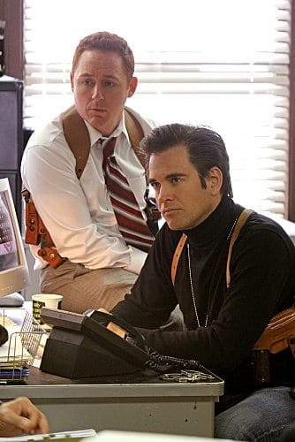 """""""Baltimore"""" - After Tony's (Michael Weatherly, right) ex-partner, Danny Price (guest star Scott Grimes, left), appears to be the Port-to-Port Killer's latest victim, he revisits his days as a detective in Baltimore, including his first encounter with Gibbs, on NCIS, Tuesday, May 3 (8:00-9:00 PM, ET/PT) on the CBS Television Network. Photo: Monty Brinton/CBS ©2011 CBS Broadcasting Inc. All Rights Reserved"""