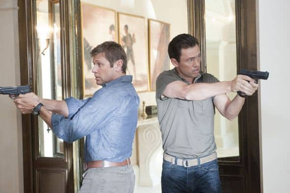 """BURN NOTICE -- """"Company Man"""" -- Pictured: (l-r) Grant Show as Max, Jeffrey Donovan as Michael Westen -- Photo by: Virginia Sherwood/USA Network"""