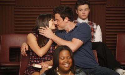 """GLEE: Rachel (Lea Michele) and Finn (Cory Monteith) in """"The Purple Piano Project"""" the season three premiere episode of GLEE airing Tuesday, Sept. 20 (8:00-9:00 PM ET/PT) on FOX. ©2011 Fox Broadcasting Co. Cr: Adam Rose/FOX"""