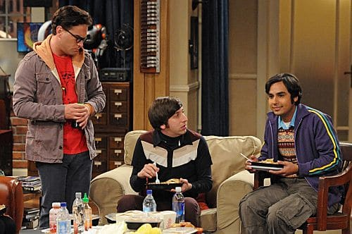 """The Isolation Permutation"" -- Amy is crushed when Bernadette and Penny go shopping for wedding dresses without her, on THE BIG BANG THEORY, Thursday, Nov. 3 (8:00 - 8:31 PM, ET/PT) on the CBS Television Network.  Pictured left to right: Johnny Galecki, Simon Helberg and Kunal Nayyar Photo: Michael Yarish/Warner Bros.  ©2011 Warner Bros. Television. All Rights Reserved"