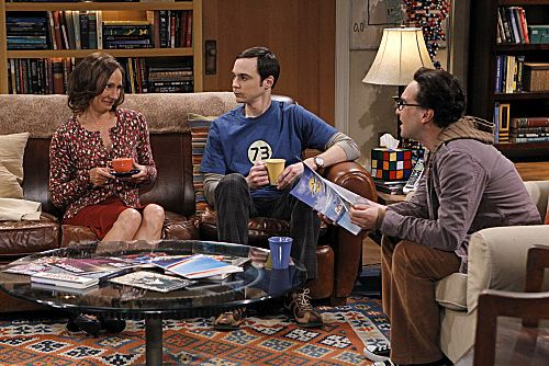 """""""The Rhinitis Revelation"""" -- Sheldon (Jim Parsons, center) competes with Leonard (Johnny Galecki, right) and the gang for his mother's (Laurie Metcalf, left) attention when she comes to visit, on THE BIG BANG THEORY, Thursday Oct. 20 (8:00 - 8:31 PM, ET/PT) on the CBS Television Network. Photo: Sonja Flemming/CBS ©2011 CBS Broadcasting Inc. All Rights Reserved"""