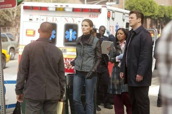 "CASTLE - ""Kill Shot"" -- A sniper on a killing spree is terrorizing New York City. With the clock ticking down to the next murder and nothing to go on except a killer with no apparent motive but to instill terror, this could prove the team's toughest case yet. The hunt is made even more complicated when Beckett begins to experience increasingly strong moments of PTSD - moments she tries hard to hide from Castle and the detectives -- on ""Castle,"" MONDAY, NOVEMBER 21 (10:01-11:00 p.m., ET), on the ABC Television Network. (ABC/RANDY HOLMES) JON HUERTAS, STANA KATIC, TAMALA JONES, NATHAN FILLION"