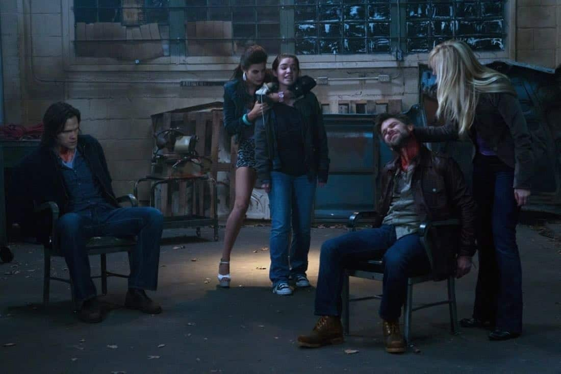"""Adventures in Babysitting"" - (l-r): Jared Padalecki as Sam, Meghan Ory as Sally, Madison Mclaughlin as Krissy, Ian Tracey as Lee, Paula Lindberg as Marlene in SUPERNATURAL on The CW. Photo: Jack Rowand/The CW©2011 The CW Network, LLC. All Rights Reserved."
