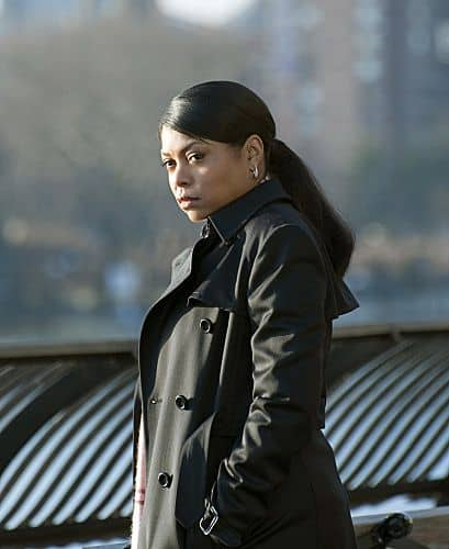 """Baby Blue"" -- When The Machine spits out the number of a 6-month-old baby, Reese and Finch turn into overly protective parents - with an arsenal at their disposal.  Meanwhile, when Elias resurfaces, Detective Carter (Taraji P. Henson) begins to question her new allegiance with Reese and Finch, on PERSON OF INTEREST, Thursday, March 8 (9:00-10:00 PM, ET/PT) on the CBS Television Network.      Photo: John P. Filo/CBS   √?¬©2012 CBS Broadcasting Inc. All Rights Reserved."