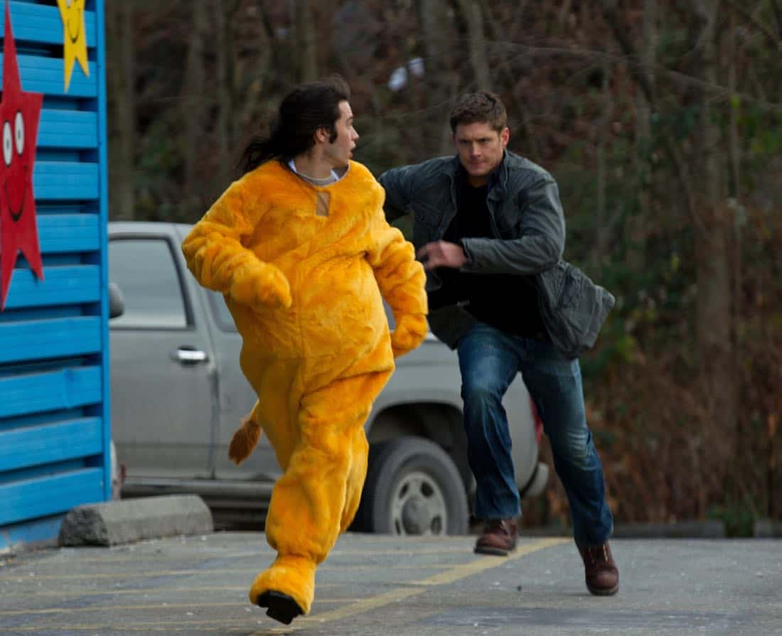 """""""Plucky Pennywhistle's Magical Menagerie"""" - (l-r): Dagan Nish as Cliff, Jensen Ackles as Dean in SUPERNATURAL on The CW. Photo: Jack Rowand/The CW©2011 The CW Network, LLC. All Rights Reserved."""