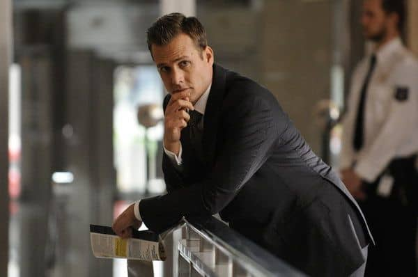 "SUITS -- ""The Choice"" Episode 202 -- Pictured: Gabriel Macht as Harvey Specter -- (Photo by: Steve Wilkie/USA Network)"