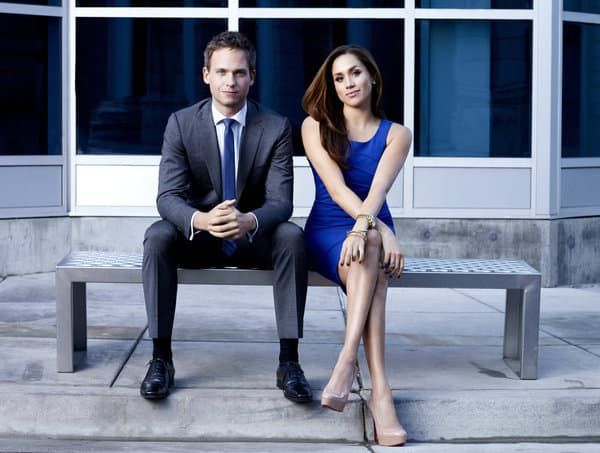 SUITS -- Season: 2 -- Pictured: (l-r) Patrick J. Adams as Mike Ross, Meghan Markle as Rachel Zane -- Photo by: Robert Ascroft/USA Network