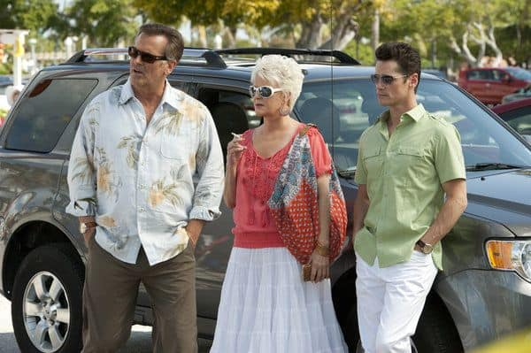 """BURN NOTICE -- """"Last Rites"""" Episode 603 -- Pictured: (l-r) Bruce Campbell as Sam Axe, Sharon Gless as Madeline Westen, Seth Peterson as Nate Westen -- (Photo by Glenn Watson/USA Network)"""
