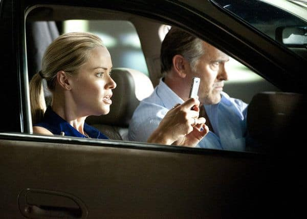 BURN NOTICE -- Episode 605 -- Pictured: (l-r) Kristanna Loken as Rebecca Lang, Bruce Campbell as Sam Axe -- (Photo by Glenn Watson/USA Network)