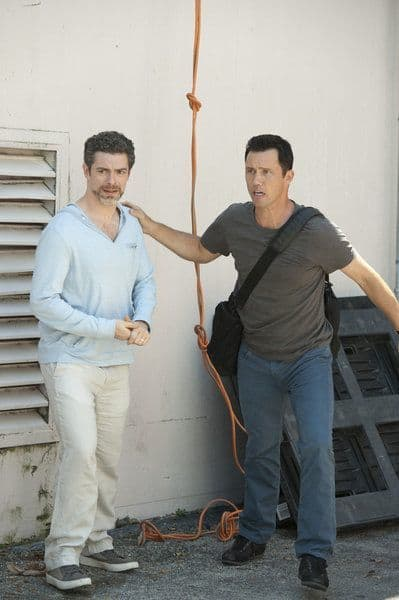 BURN NOTICE -- Episode 605 -- Pictured: (right) Jeffrey Donovan as Michael Westen -- (Photo by Glenn Watson/USA Network)