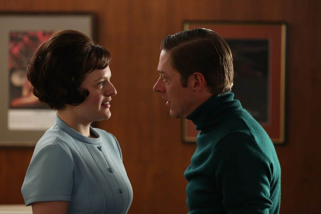 "Peggy Olson (Elisabeth Moss) and Ted Chaough (Kevin Rahm) - Mad Men_Season 6, Episode 6_""For Immediate Release"" - Photo Credit: Michael Yarish/AMC"