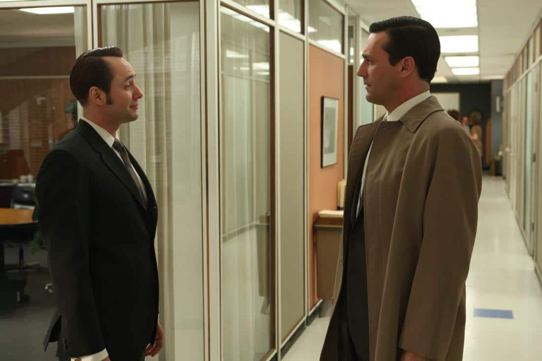 "Pete Campbell (Vincent Kartheiser) and Don Draper (Jon Hamm) - Mad Men_Season 6, Episode 6_""For Immediate Release"" - Photo Credit: Michael Yarish/AMC"