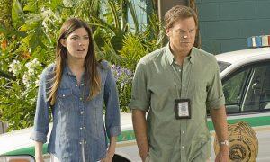 Jennifer Carpenter as Debra Morgan and Michael C. Hall as Dexter Morgan in Dexter