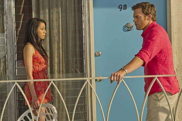 Aimee Garcia as Jamie Batista and Michael C. Hall as Dexter Morgan in Dexter