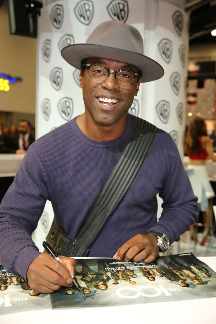 The Chancellor is in the house! Isaiah Washington, who stars as Chancellor Jaha in THE 100, signs for fans at the Warner Bros. booth at Comic-Con 2014
