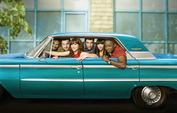 NEW GIRL: Cast L-R: Damon Wayans, Jr., Jake Johnson, Zooey Deschanel, Max Greenfield, Hannah Simone and Lamorne Morris