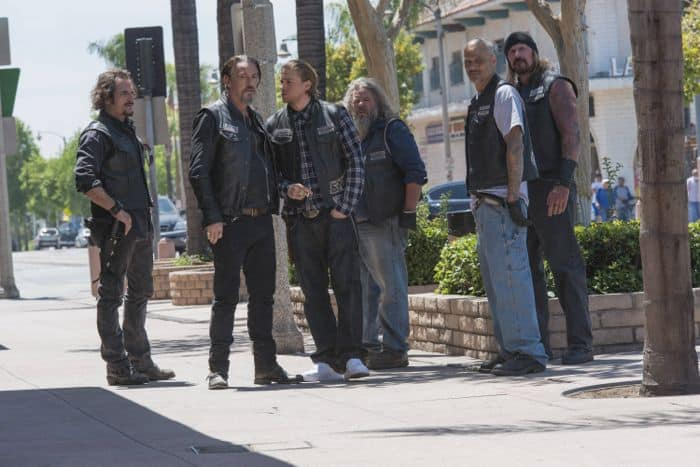 "Sons Of Anarchy 7x01 Kim Coates as Alex 'Tig' Trager, Tommy Flanagan as Filip 'Chibs' Telford, Charlie Hunnam as Jackson ""Jax"" Teller, Mark Boone Junior as Robert 'Bobby' Munson, David Labrava as Happy, Rusty Coons as Quinn"