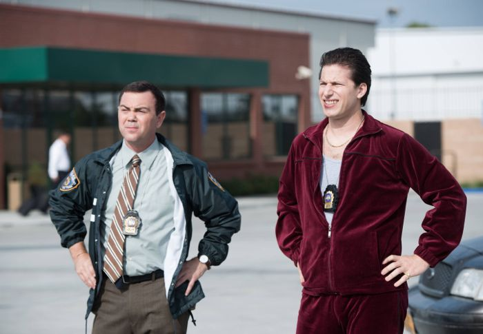 BROOKLYN NINE-NINE: Detectives Jake Peralta (Andy Samberg, L) and Charles Boyle (Joe Lo Truglio, R) go on an undercover assignment