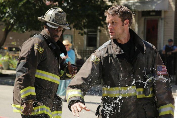 "CHICAGO FIRE -- ""Always"" Episode 301 -- Pictured: (l-r) Eamonn Walker as Wallace Boden, Jesse Spencer as Matthew Casey"