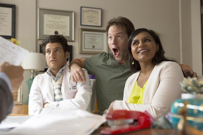 THE MINDY PROJCET:  L-R:  Peter (Adam Pally), Morgan (Ike Barinholtz) and Mindy (Mindy Kaling) ask Jeremy and Danny for help