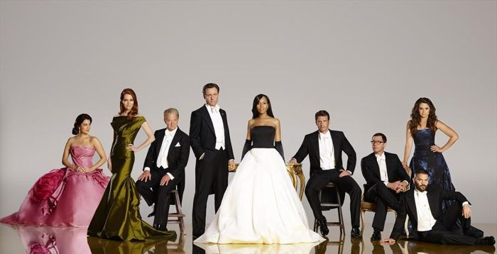 """ABC's """"Scandal"""" stars Bellamy Young as First Lady Mellie Grant, Darby Stanchfield as Abby Whelan, Jeff Perry as Cyrus, Tony Goldwyn as President Fitzgerald Grant, Kerry Washington as Olivia Pope, Scott Foley as Jake Ballard, Joshua Malina as David Rosen, Guillermo Diaz as Huck and Katie Lowes as Quinn Perkins"""