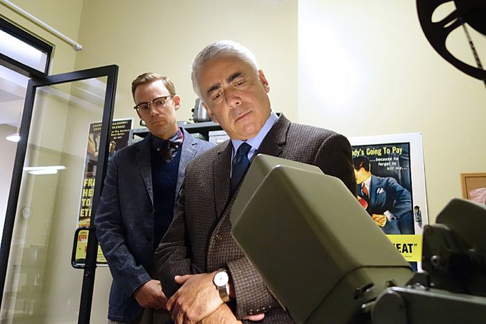 Kevin Christy as Lester and Adam Arkin as Shep Tally in Masters of Sex (season 2, episode 10)