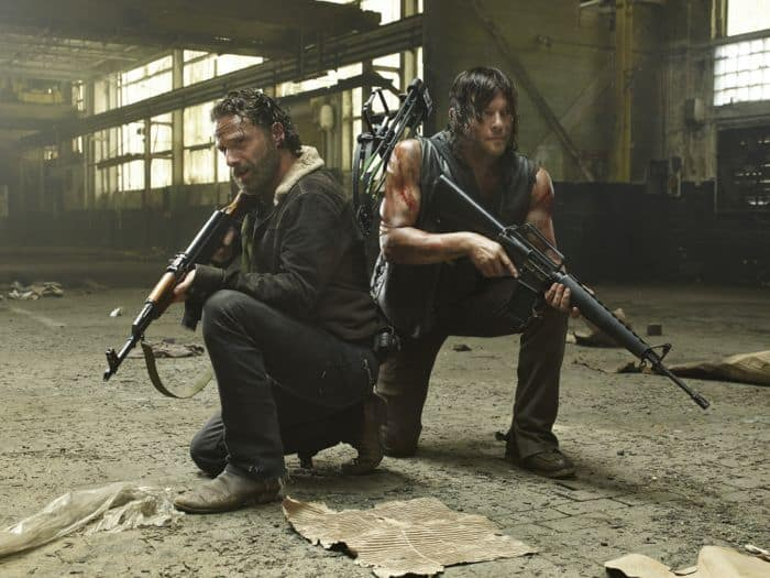 Andrew Lincoln as Rick Grimes and Norman Reedus as Daryl Dixon The Walking Dead Season 5