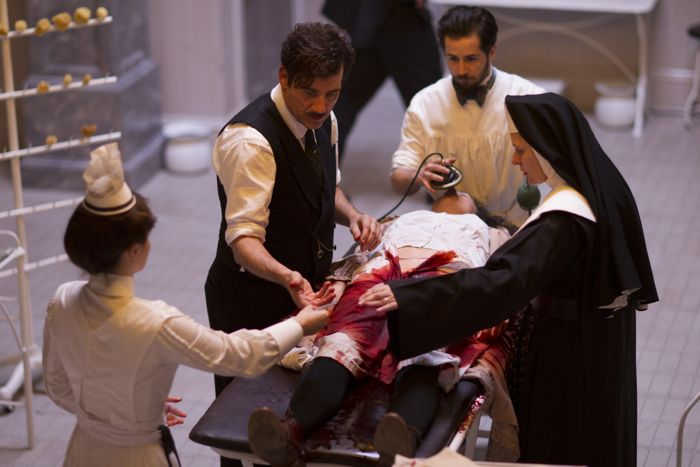 THE KNICK episode 4: Eve Hewson, Clive Owen, Michael Angarano, Cara Seymour. photo: Mary Cybulski