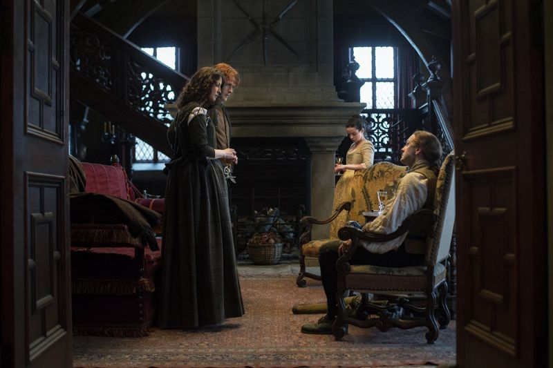 Outlander Episode 112 - Claire Randall (Caitriona Balfe), Ian Murray (Steven Cree), Jamie Fraser (Sam Heughan), Jenny Fraser (Laura Donnelly
