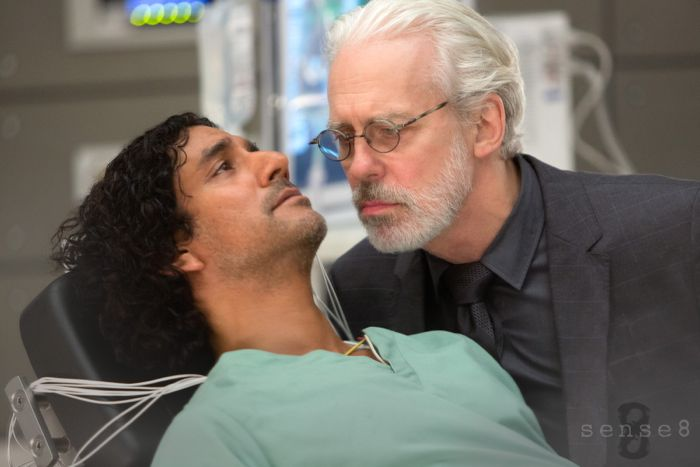 "Naveen Andrews (L) and Terrence Mann (R) in a scene from Netflix's ""Sense8."" Photo Credit: Murray Close/Netflix."