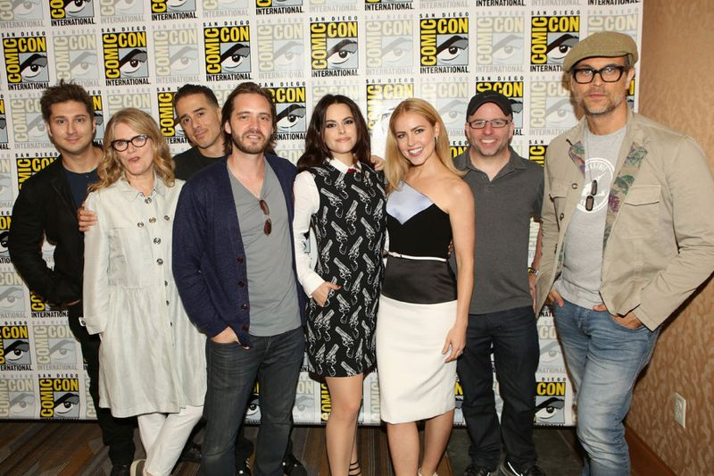 """12 Monkeys"" : (L-R) Terry Matalas, Executive Producer, Barbara Sukowa, Kirk Acevedo, Aaron Stanford, Emily Hampshire, Amanda Schull, Travis Fickett, Executive Producer, and Todd Stashwick -- (Photo by: Evans Vestal Ward/Syfy)"