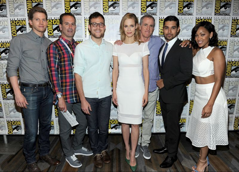FOX FANFARE AT SAN DIEGO COMIC-CON © 2015: L-R: MINORITY REPORT Cast member Stark Sands, Executive Producers Darryl Frank and Max Borenstein, cast member Laura Regan, Executive Producer Kevin Falls and cast members Wilmer Valderrama and Meagan Good during the MINORITY REPORT press line on Friday, July 10 at the FOX FANFARE AT SAN DIEGO COMIC-CON © 2015. CR: Frank Micelotta/FOX  © 2015 FOX BROADCASTING