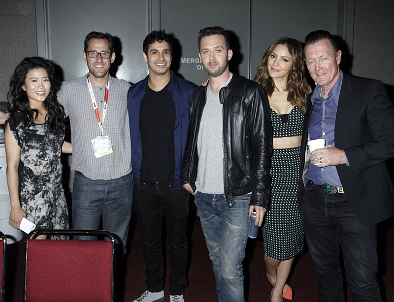 Jadyn Wong, Executive Producer, Nicholas Wootton, Elyes Gabel, Eddie Kaye Thomas, Katharine McPhee, & Robert Patrick of the CBS Series Scorpion at COMIC CON 2015, held in San Diego, CA Photo: Francis Specker/CBS ©2015 CBS Broadcasting Inc. All Rights Reserved