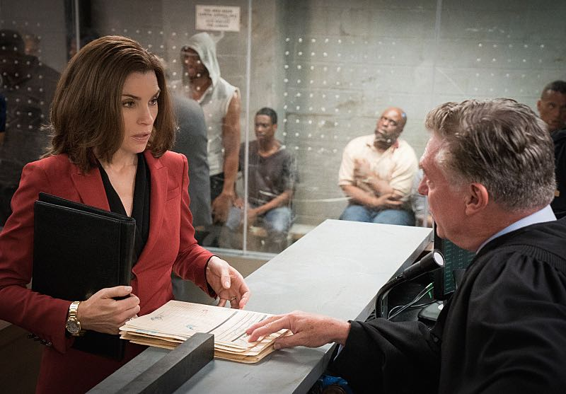 """Grunts"" -- Alicia  (Julianna Margulies) attempts to revive her struggling law career by representing arrestees seeking release on bail in bond court, where she meets attorney Lucca Quinn (Cush Jumbo), who competes for her clients. Also, Peter brings in national strategist Ruth Eastman (Margo Martindale) to help with his Presidential campaign, and creates an interesting dynamic with Eli in the process, on the seventh season premiere of THE GOOD WIFE, Sunday, Oct. 4  (9:00-10:00 PM ET/PT) on the CBS Television Network. Photo: David M. Russell/CBS  ©2015 CBS Broadcasting, Inc. All Rights Reserved"