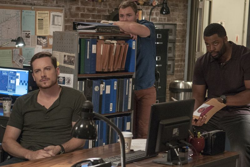 "CHICAGO P.D. -- ""Life Is Fluid"" Episode 301 -- Pictured: (l-r) Jesse Lee Soffer as Jay Halstead, Patrick John Flueger as Adam Ruzek, Laroyce Hawkins as Kevin Atwater -- (Photo by: Matt Dinerstein/NBC)"
