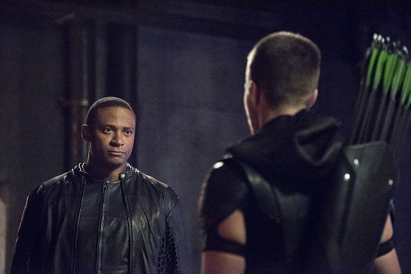 """Arrow -- """"Green Arrow"""" -- Image AR401A_0283b -- Pictured (L-R): David Ramsey as John Diggle and Stephen Amell as Oliver Queen -- Photo: Dean Buscher /The CW -- © 2015 The CW Network, LLC. All Rights Reserved."""