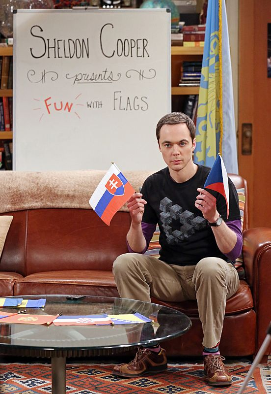 """The Separation Oscillation"" -- Sheldon (Jim Parsons) films a special episode of ""Fun with Flags"" after his breakup with Amy, on THE BIG BANG THEORY, Monday, Sept. 28 (8:00-8:31 PM, ET/PT), on the CBS Television Network.  Photo: Michael Yarish/Warner Bros. Entertainment Inc. © 2015 WBEI. All rights reserved."