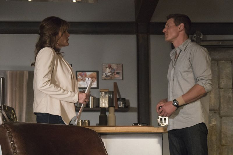 "THE PLAYER -- ""A House is Not a Home"" Episode 106 -- Pictured: (l-r) Catherine Dent as Barbara Lee, Philip Winchester as Alex -- (Photo by: Brandon Hickman/NBC)"