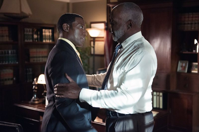 """THE PLAYER -- """"A House Is Not A Home"""" Episode 106 -- Pictured: (l-r) Wesley Snipes as Mr. Johnson, Richard Roundtree as Letts -- (Photo by: Colleen Hayes/NBC)"""