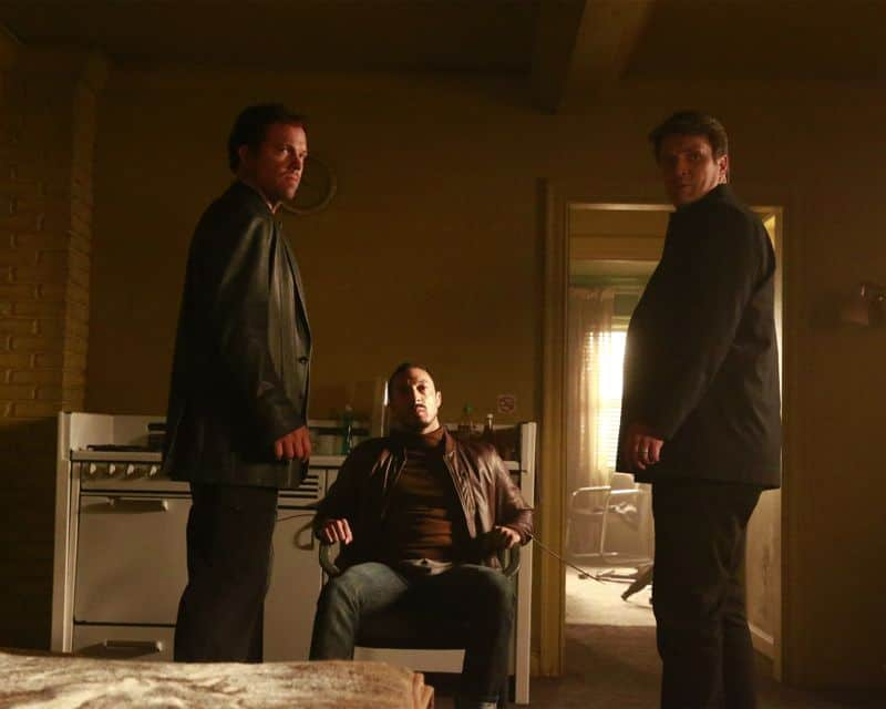 """CASTLE - """"Cool Boys"""" - Detective Slaughter (guest star Adam Baldwin) returns to enlist Castle's help in solving a high-stakes robbery case. But when a body is found linked to the crime, Slaughter becomes the number one suspect in the heist turned murder, while Castle has to determine whether he's guilty or help to prove he's innocent. """"Cool Boys"""" will air on MONDAY, NOVEMBER 9 (10:01-11:00 p.m. ET/PT) on the ABC Television Network. (ABC/Mitch Haaseth) ADAM BALDWIN, WADE ALLAIN-MARCUS, NATHAN FILLION"""