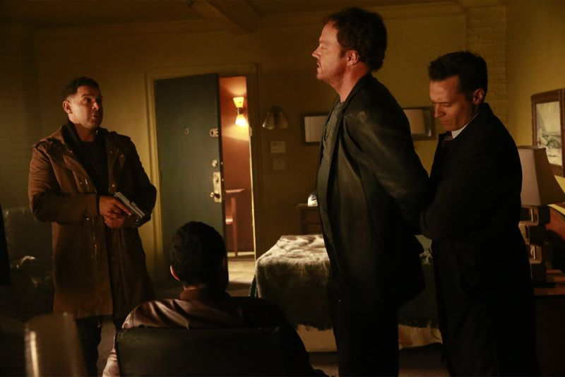 """CASTLE - """"Cool Boys"""" - Detective Slaughter (guest star Adam Baldwin) returns to enlist Castle's help in solving a high-stakes robbery case. But when a body is found linked to the crime, Slaughter becomes the number one suspect in the heist turned murder, while Castle has to determine whether he's guilty or help to prove he's innocent. """"Cool Boys"""" will air on MONDAY, NOVEMBER 9 (10:01-11:00 p.m. ET/PT) on the ABC Television Network. (ABC/Mitch Haaseth) JON HUERTAS, WADE ALLAIN-MARCUS, ADAM BALDWIN, SEAMUS DEVER"""