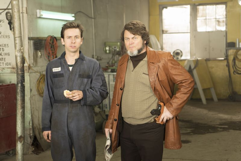 """FARGO -- """"Fear and Trembling"""" -- Episode 204 (Airs November 2, 10:00 pm e/p) Pictured: (l-r) Daniel Beirne as Sonny Greer, Nick Offerman as Karl Weathers. CR: Chris Large/FX"""