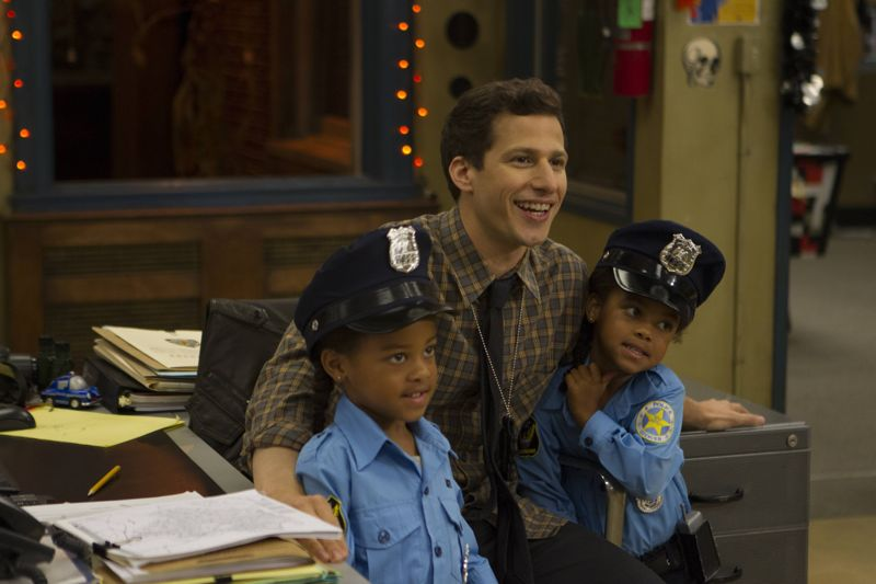 """BROOKLYN NINE-NINE: L-R: Cagney Jeffords, Andy Samberg and Lacey Jeffords in the """"Halloween 3"""" episode of BROOKLYN NINE-NINE airing Sunday, Oct. 25 (8:30-9:00 PM ET/PT) on FOX. ©2015 Fox Broadcasting Co. Cr: FOX"""