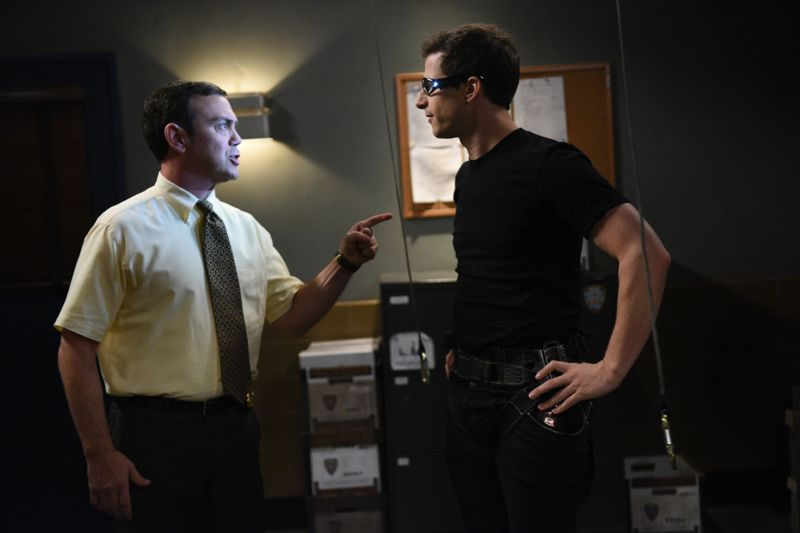 "BROOKLYN NINE-NINE: L-R: Joe Lo Truglio and Andy Samberg in the ""Halloween 3"" episode of BROOKLYN NINE-NINE airing Sunday, Oct. 25 (8:30-9:00 PM ET/PT) on FOX. ©2015 Fox Broadcasting Co. Cr: FOX"