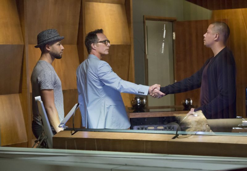 "EMPIRE: L-R: Jussie Smollett, guest star William Fichtner and Terrence Howard in the ""A High Hope For A Low Heaven"" episode of EMPIRE airing Wednesday, Nov. 4 (9:00-10:00 PM ET/PT) on FOX. ©2015 Fox Broadcasting Co. Cr: Chuck Hodes/FOX."