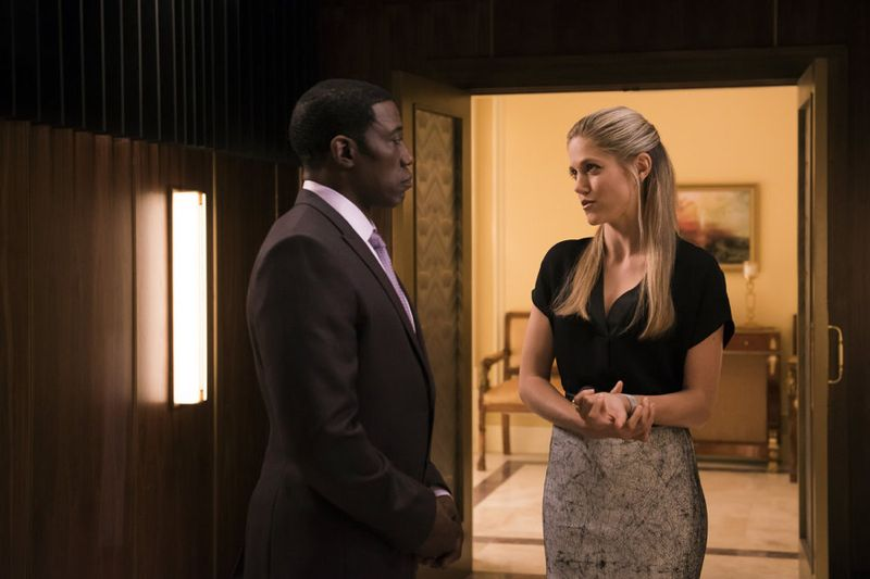 "THE PLAYER -- ""The Norseman"" Episode 105 -- Pictured: (l-r) Wesley Snipes as Mr. Johnson, Charity Wakefield as Cassandra -- (Photo by: Brandon Hickman/NBC)"