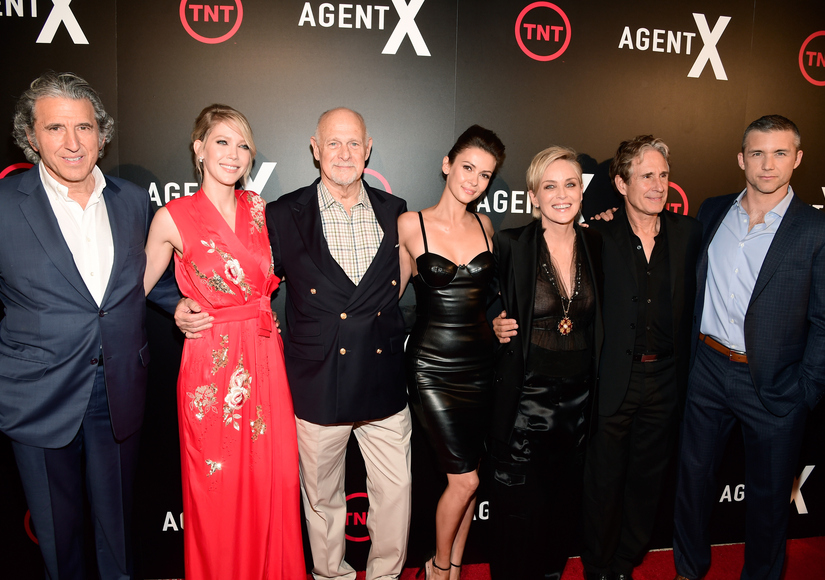 "WEST HOLLYWOOD, CA - OCTOBER 20: (L-R) Executive Producer Armyan Bernstein, actors Carolyn Stotesbery, Gerald McRaney, Sharon Stone, John Shea and Jeff Hephner attend TNT's ""Agent X"" screening at The London West Hollywood on October 20, 2015 in West Hollywood, California. 25769_001 (Photo by Frazer Harrison/Getty Images for TNT)"