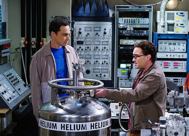 """""""The Helium Insufficiency"""" -- In the midst of a nation-wide helium shortage, Sheldon (Jim Parsons, left) and Leonard (Johnny Galecki, right) take desperate measures to get the supplies they need, on THE BIG BANG THEORY, Monday, Oct. 26 (8:00-8:30 PM, ET/PT), on the CBS Television Network.  Photo: Monty Brinton/CBS ©2015 CBS Broadcasting, Inc. All Rights Reserved"""