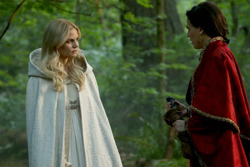 "ONCE UPON A TIME - ""Dreamcatcher"" - In Camelot, as Mary Margaret and David attempt to retrieve the Dark One dagger, Emma uses a dreamcatcher to look into the past to see how Merlin was transformed into a tree. Together, Emma and Regina figure out the critical ingredient they must acquire to free Merlin, but it's a race against Arthur, who does not want Merlin released. Meanwhile, with encouragement from his moms, Henry musters up the courage to ask Violet on a date. Back in Storybrooke, the heroes break into Emma's house hoping to locate Gold, but what they find will give them a glimpse of Emma's end game. Far from prying eyes, Merida sets about the mission Emma has tasked her with and begins molding Gold into the hero they need to draw Excalibur, on ""Once Upon a Time,"" SUNDAY, OCTOBER 25 (8:00-9:00 p.m., ET) on the ABC Television Network. (ABC/Jack Rowand) JENNIFER MORRISON, LANA PARRILLA"