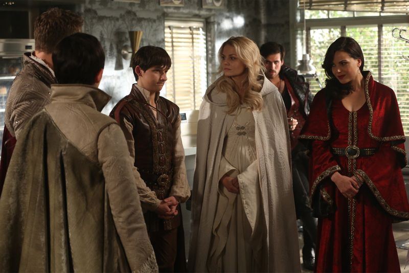 "ONCE UPON A TIME - ""Dreamcatcher"" - In Camelot, as Mary Margaret and David attempt to retrieve the Dark One dagger, Emma uses a dreamcatcher to look into the past to see how Merlin was transformed into a tree. Together, Emma and Regina figure out the critical ingredient they must acquire to free Merlin, but it's a race against Arthur, who does not want Merlin released. Meanwhile, with encouragement from his moms, Henry musters up the courage to ask Violet on a date. Back in Storybrooke, the heroes break into Emma's house hoping to locate Gold, but what they find will give them a glimpse of Emma's end game. Far from prying eyes, Merida sets about the mission Emma has tasked her with and begins molding Gold into the hero they need to draw Excalibur, on ""Once Upon a Time,"" SUNDAY, OCTOBER 25 (8:00-9:00 p.m., ET) on the ABC Television Network. (ABC/Jack Rowand) JOSH DALLAS, GINNIFER GOODWIN, JARED GILMORE, JENNIFER MORRISON, COLIN O'DONOGHUE, LANA PARRILLA"
